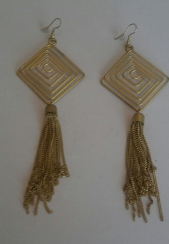 Gold Long Triangle Maze Earrings