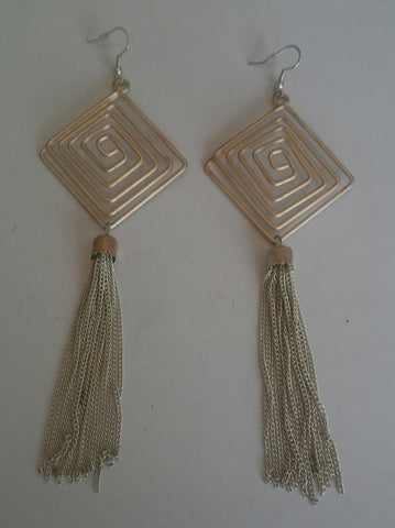 Silver Long Triangle Maze Earrings