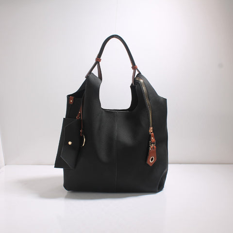 Latarsha Black and Coffee Hobo Bag
