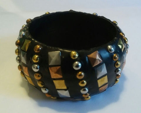 Leather Studded Bangle