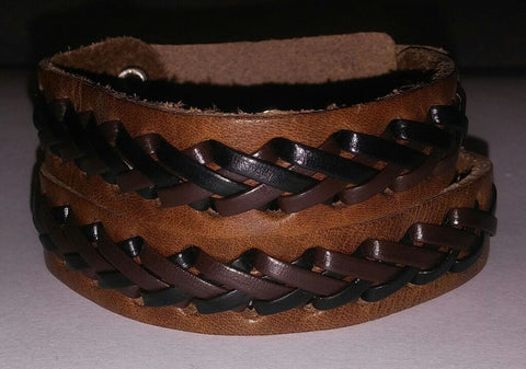 Luggage & Chocolate Double Braided Leather Band