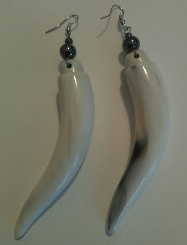 Ivory/Charcoal Top Bone Earrings