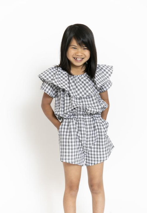 Promptly Journals 4th of July Kids Outfit Ideas - Pepper Kids Gingham Ruffled Romper