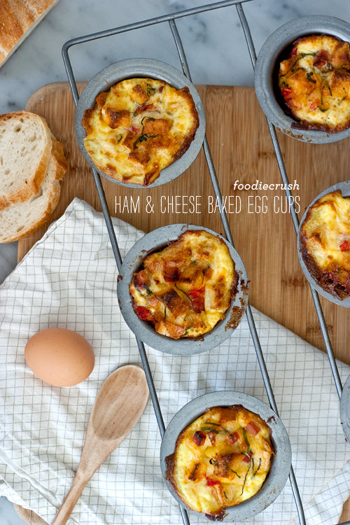 FoodieCrush Ham and Cheese Baked Egg Cups