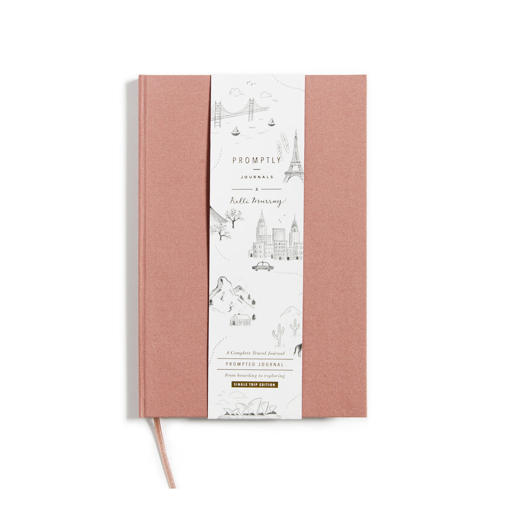 Promptly Journals Travel Journal Dusty Rose