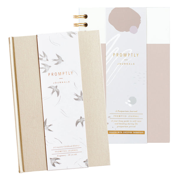 Postpartum Powdered Lilac Leatherette +Childhood History Journal -Sand