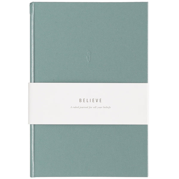 Blank Journal -  Believe Dusty Blue Leatherette