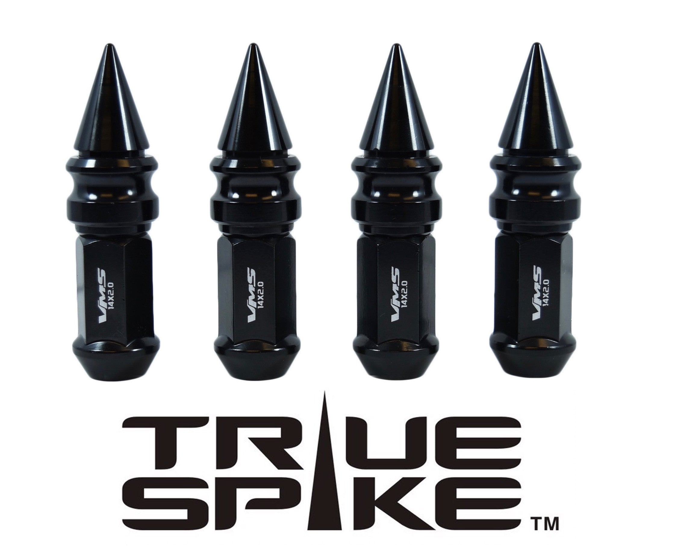 1/2-20 89MM EXTENDED RIBBED SPIKE (25MM DIAMETER) STEEL LUG NUTS ...