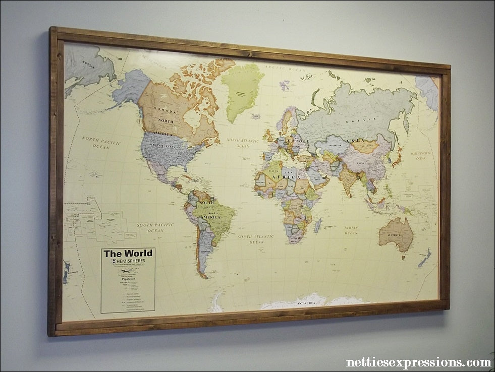 Netties Expressions Blog Extra Large Framed World Map