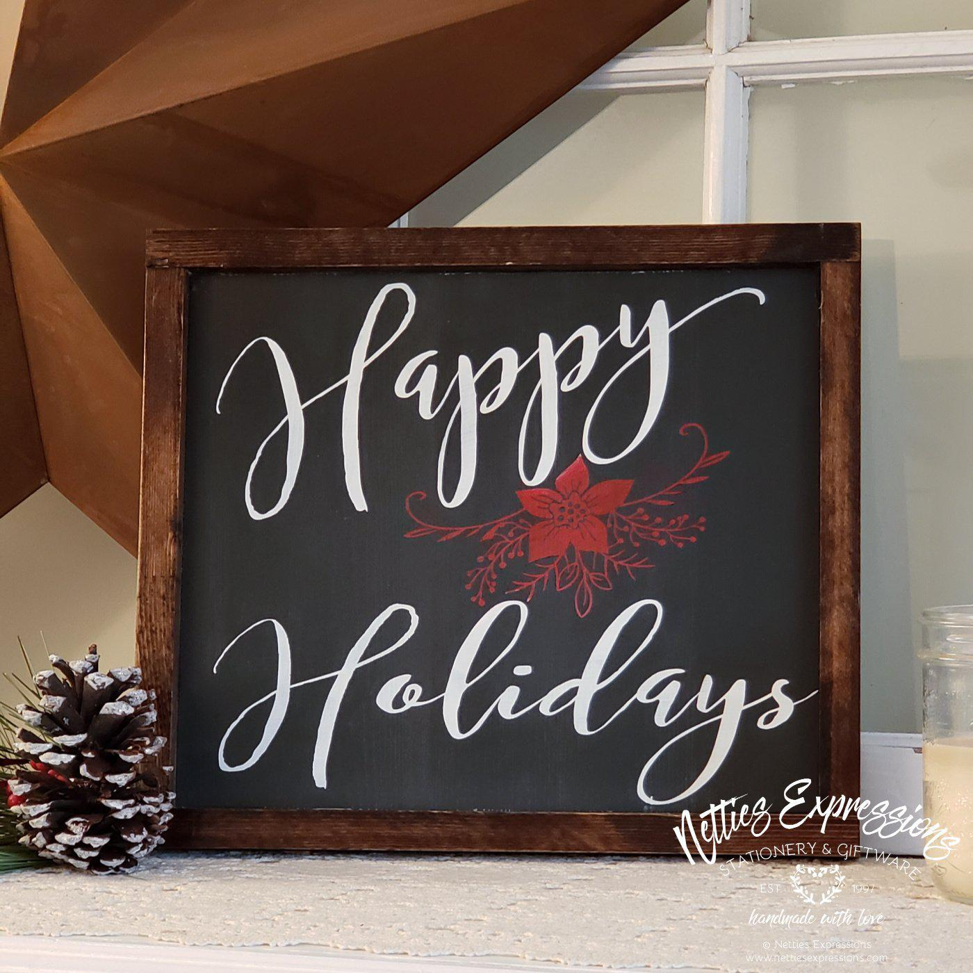 Happy Holidays - Rustic Wood Sign - Netties Expressions