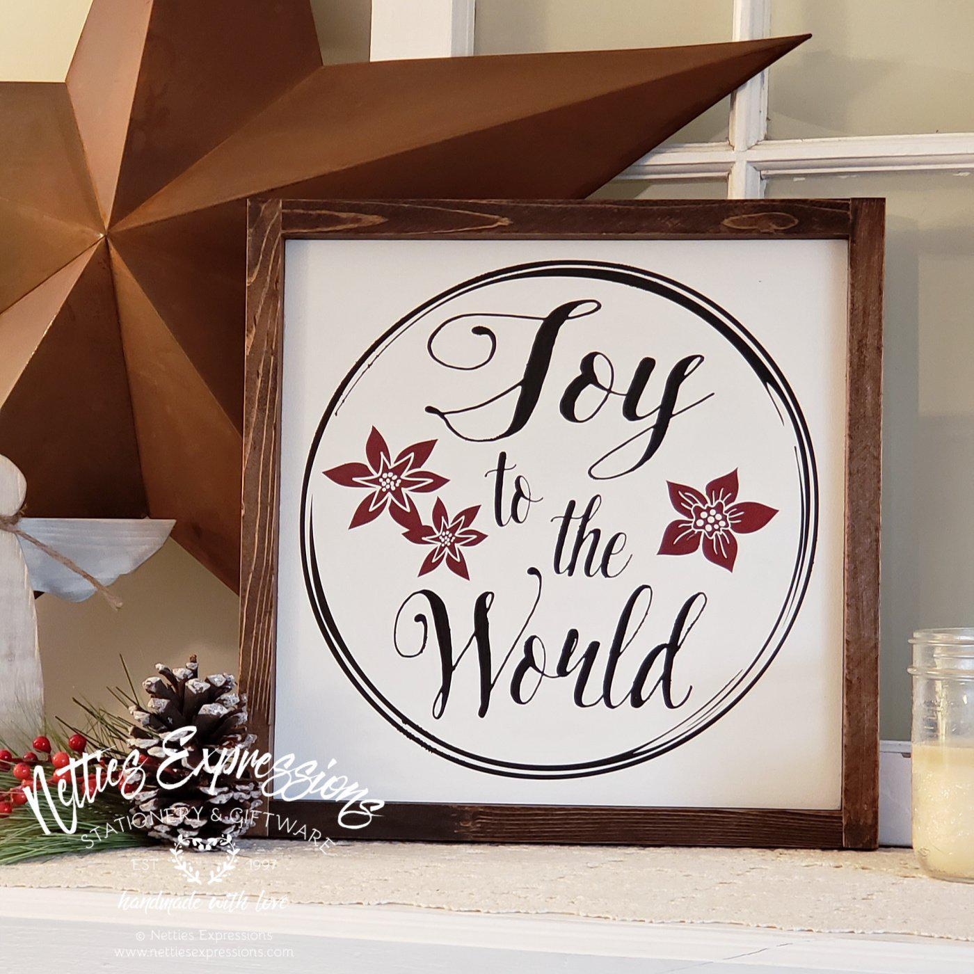 Joy to the World - Rustic Wood Christmas Sign - Netties Expressions