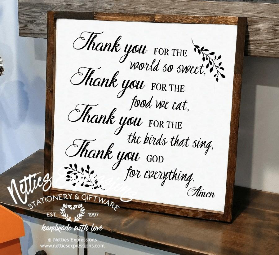 Thank you for the world so sweet 18x18 Rustic Framed Wood Sign-Wood Signs-Netties Expressions