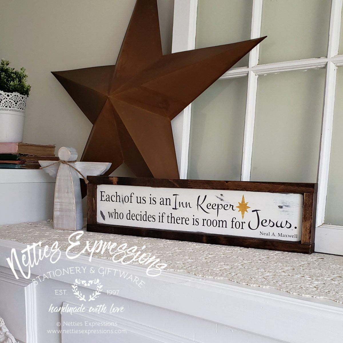 Each of us is an Inn Keeper - Rustic Framed Wood Christmas Sign - Netties Expressions