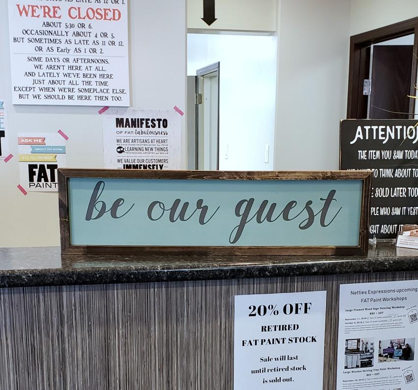 Be our guest 6x26 Rustic Framed Wood Sign - Netties Expressions