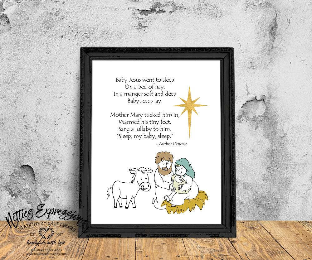Baby Jesus Went to Sleep - Art Print - Netties Expressions