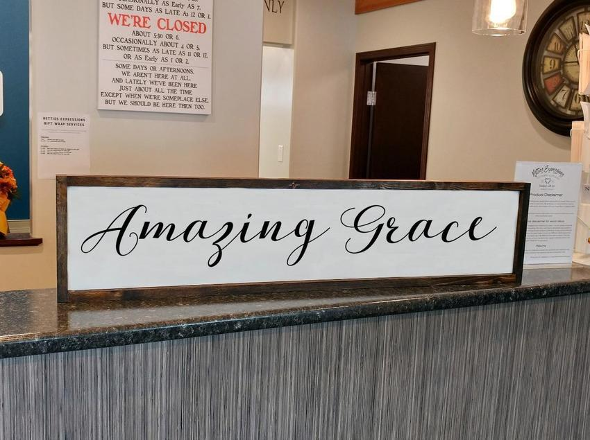Amazing Grace - Rustic Framed Wood Sign - Netties Expressions