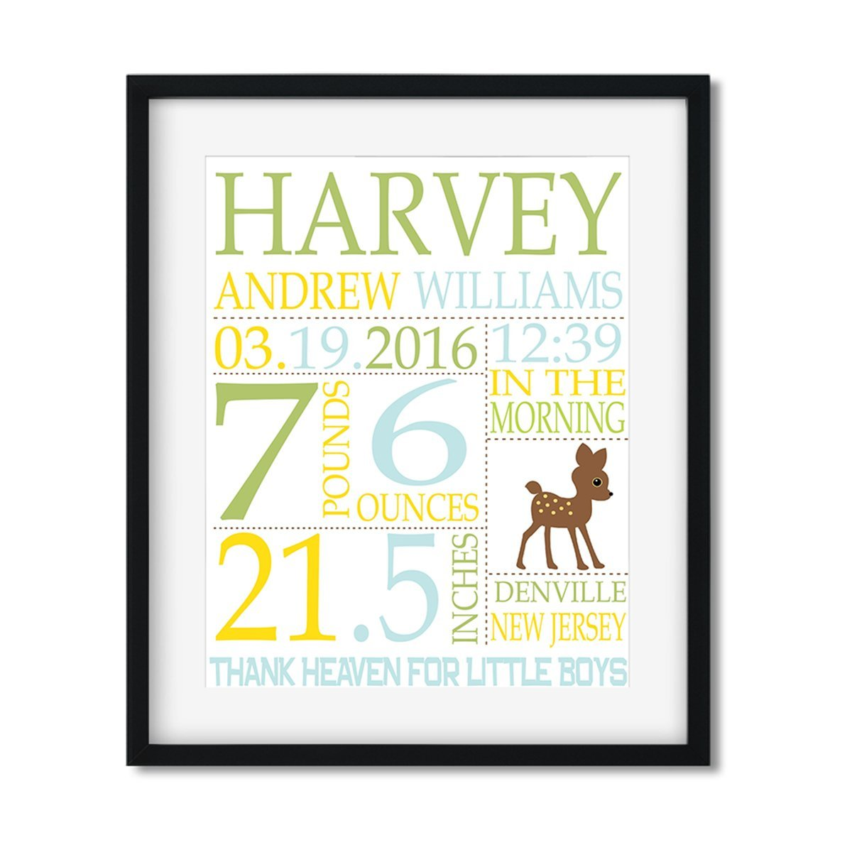 Bambi - Baby Boy Stats - Art Print - Netties Expressions