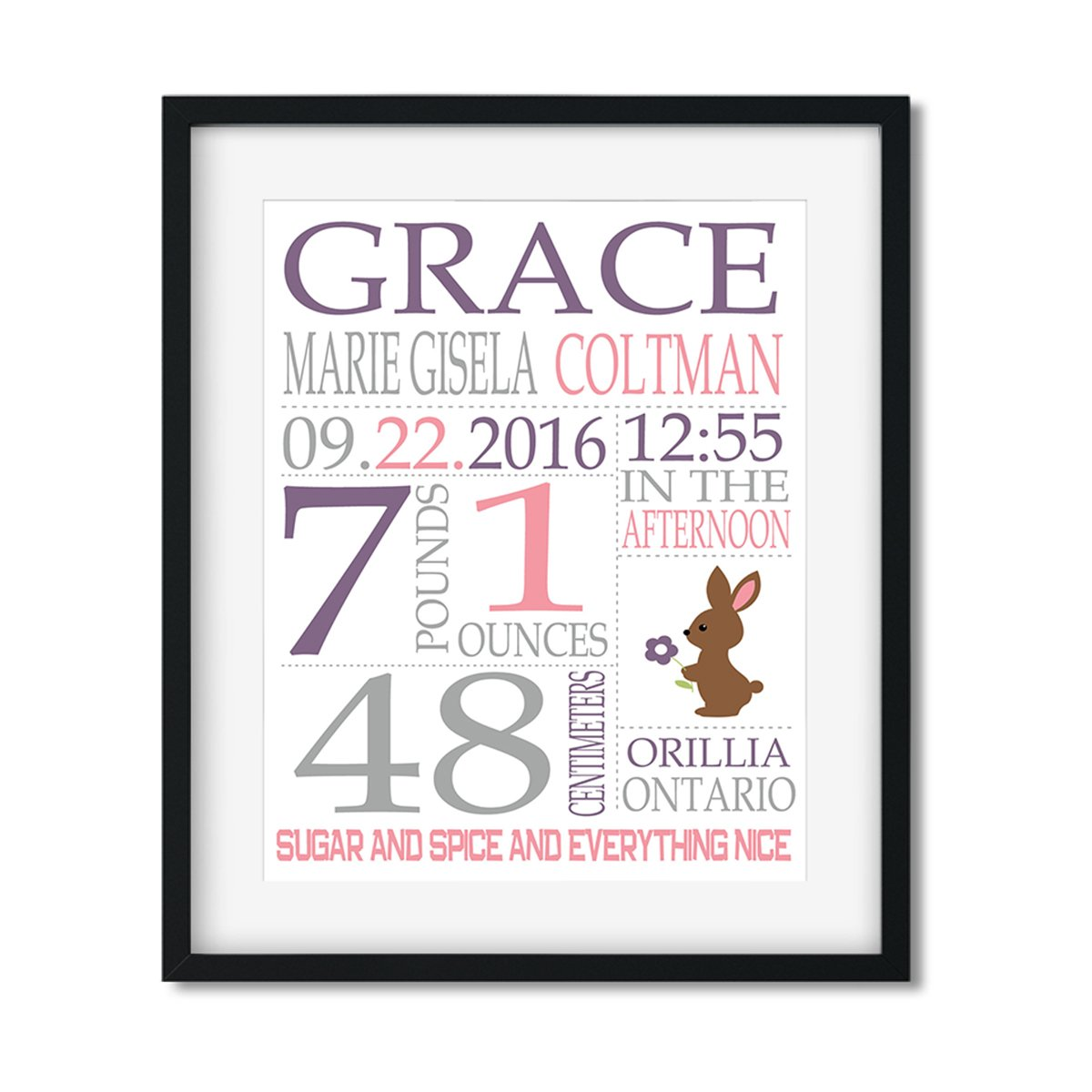 Baby Girl Stats - Art Print - Netties Expressions