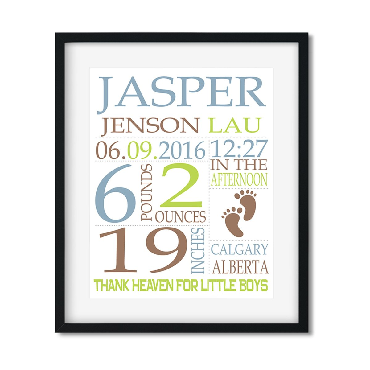 Footprints - Baby Boy Stats - Art Print - Netties Expressions