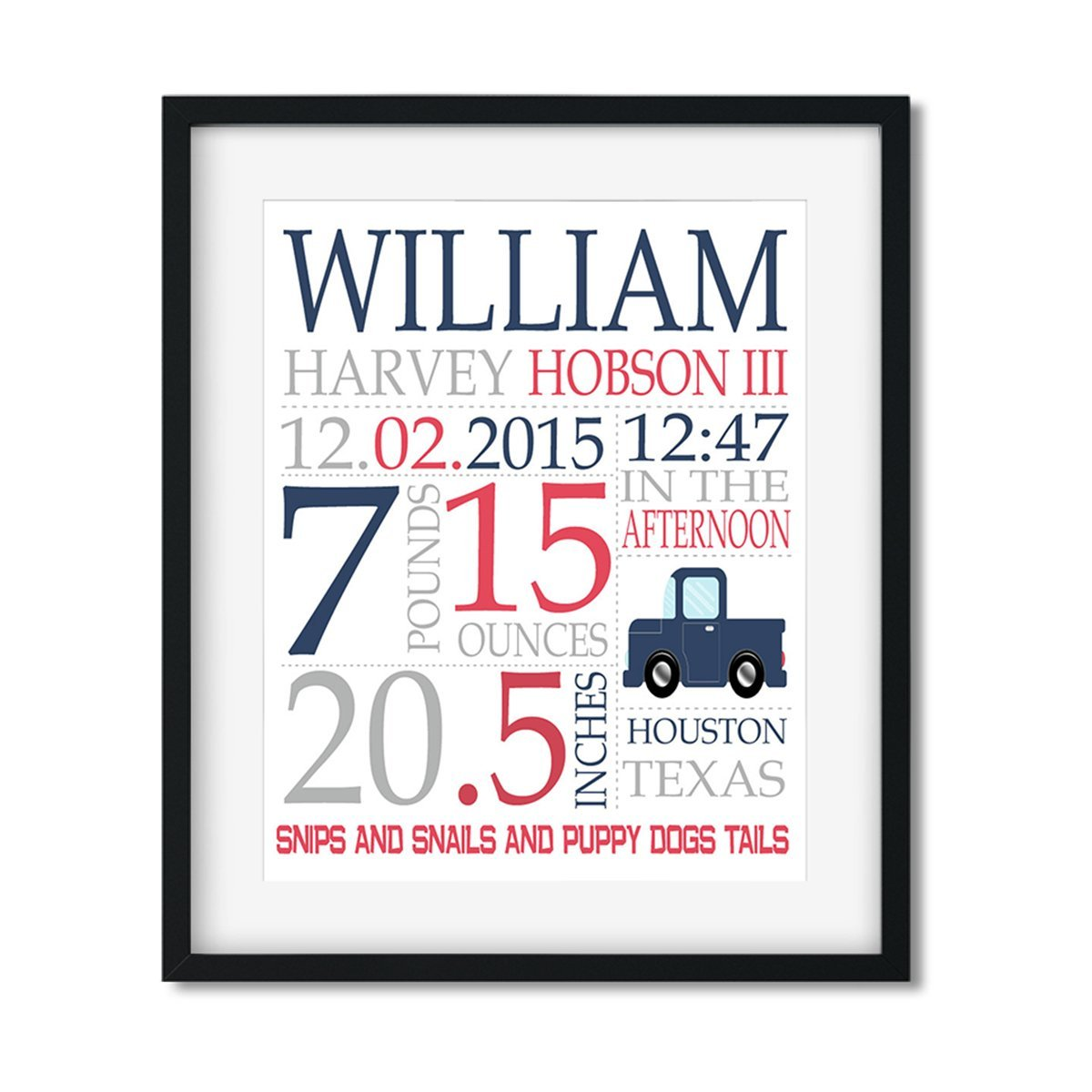 Truck - Baby Boy Stats - Art Print - Netties Expressions
