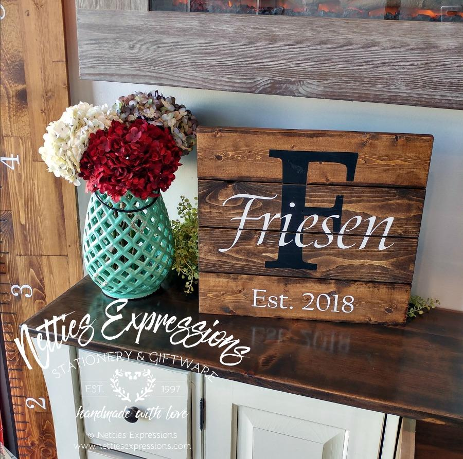 Classic Last Name Monogram - Rustic Pallet Wood Sign - Netties Expressions