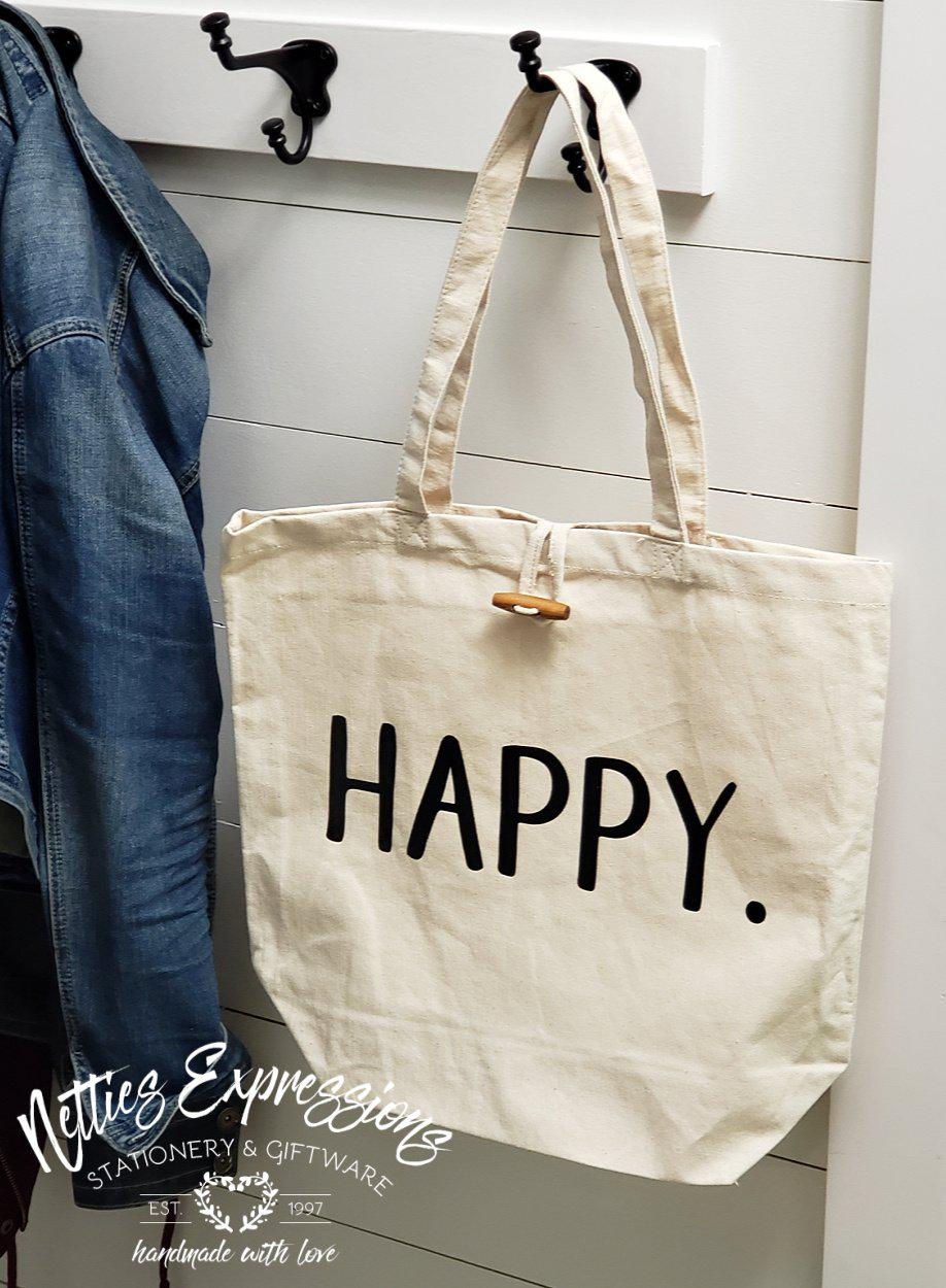 Happy - Recycled Cotton Tote Bag - Netties Expressions