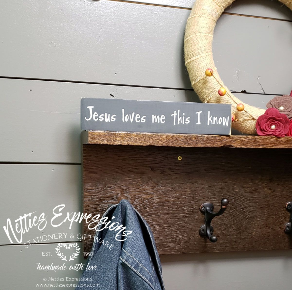 Jesus loves me this I know - Rustic Wood Sign - Netties Expressions