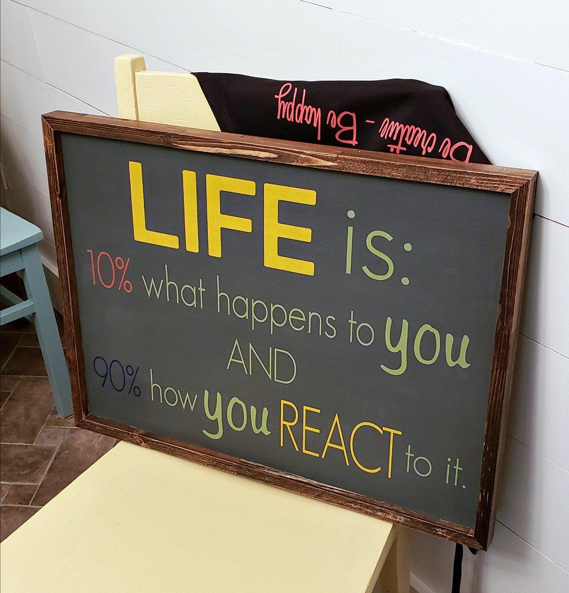Life is 10% what happens - Rustic Wood Sign - Netties Expressions