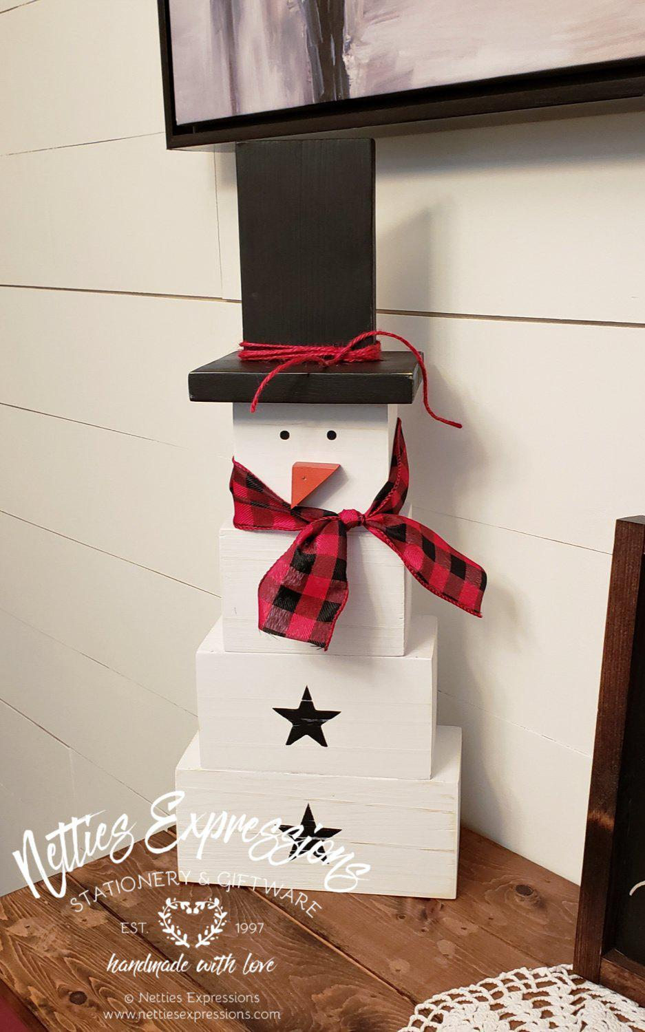 Large Wooden Snowman - Netties Expressions