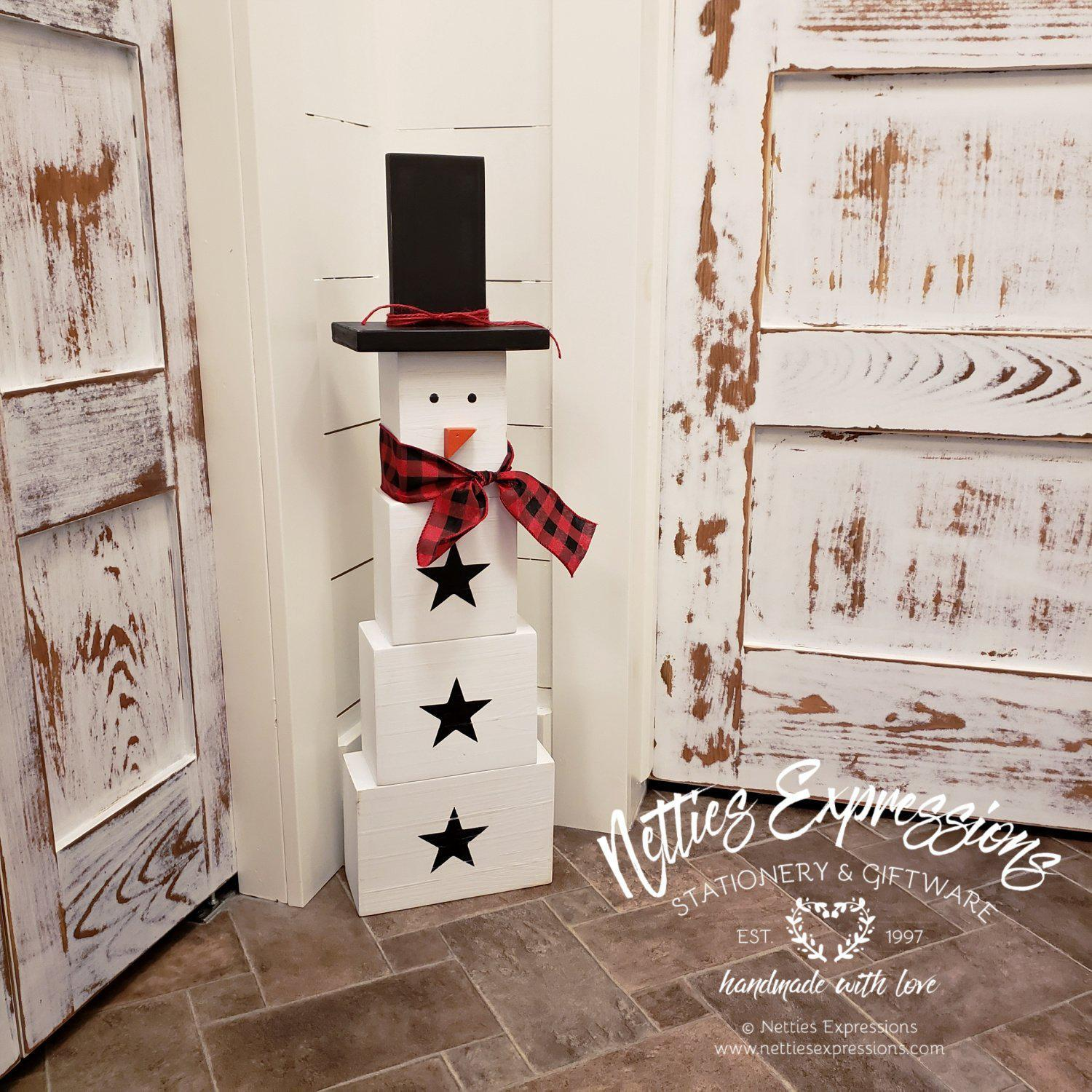 Extra-Large Wooden Snowman - Netties Expressions