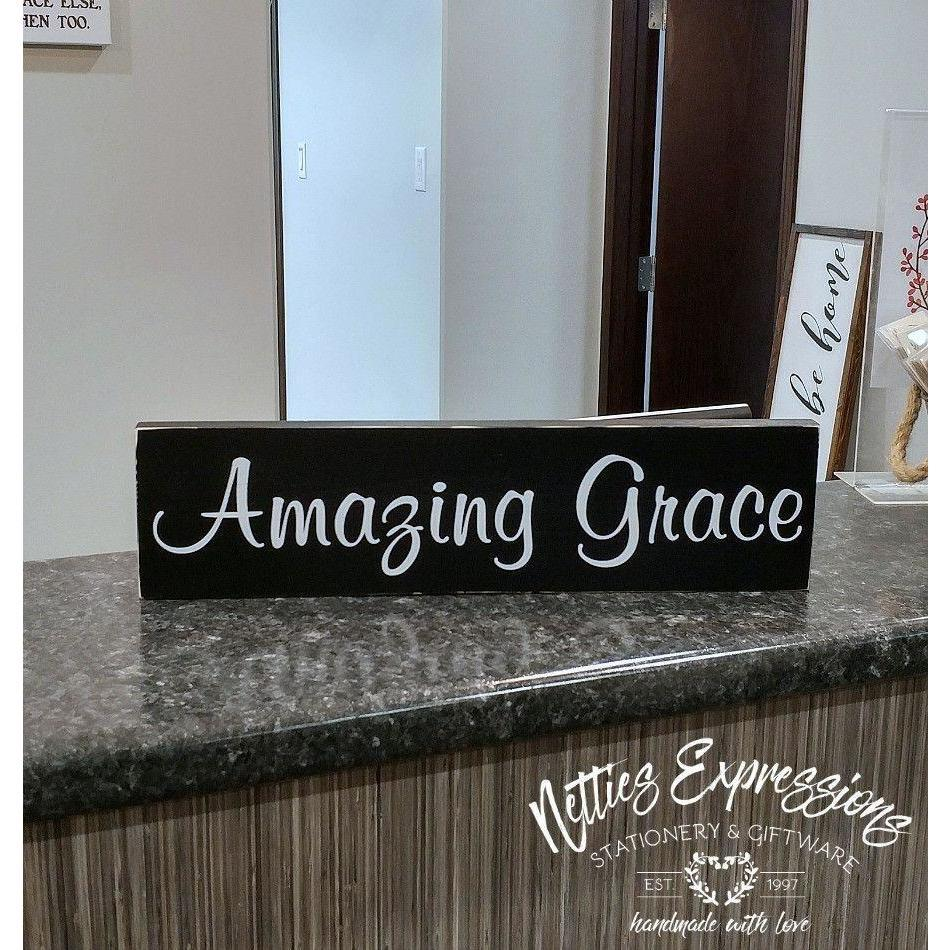 Amazing Grace - Rustic Wood Sign - Netties Expressions
