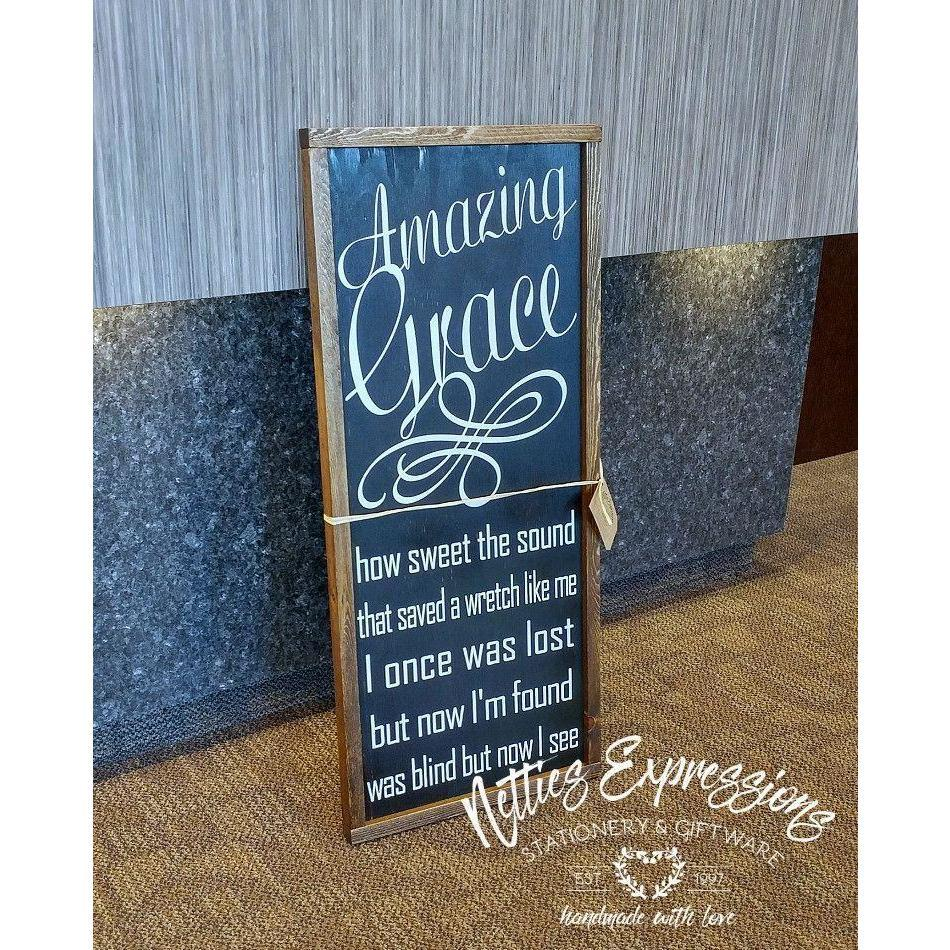 Amazing Grace how sweet the sound - Framed Wood Sign - Netties Expressions
