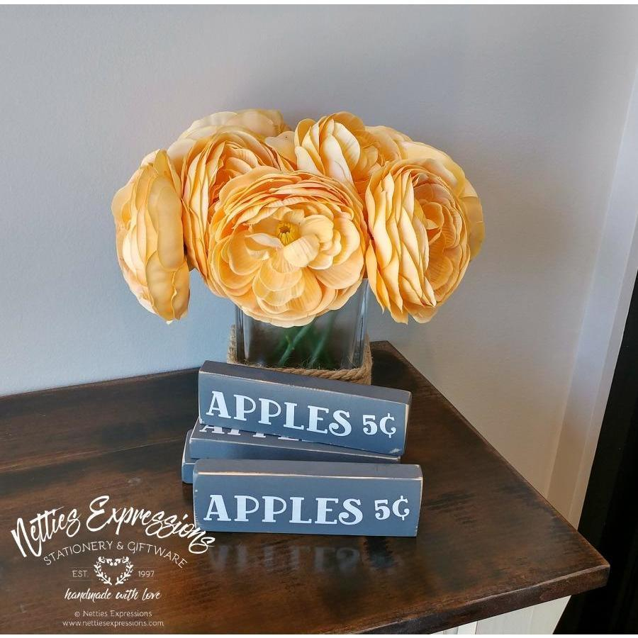 Apples 5¢ 1.5x6 Rustic Fall Wood Sign - Netties Expressions