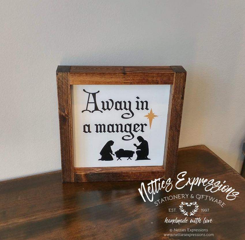 Away in a Manger - Rustic Wood Christmas Sign - Netties Expressions