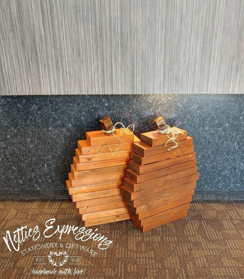 Extra-Large Stacked Wood Pumpkin - Netties Expressions
