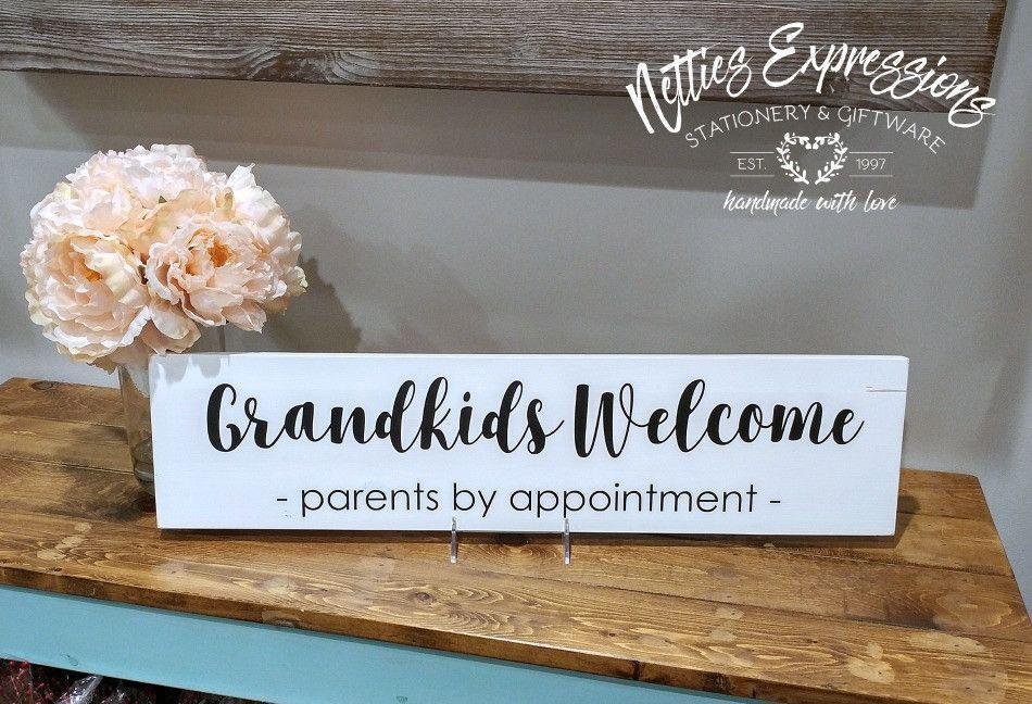 Grandkids Welcome Parents by Appointment - Rustic Wood Sign - Netties Expressions