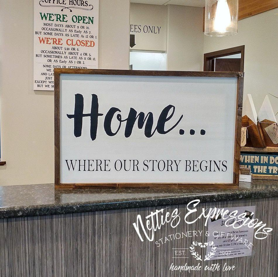 Home where our story begins - Rustic Wood Sign - Netties Expressions