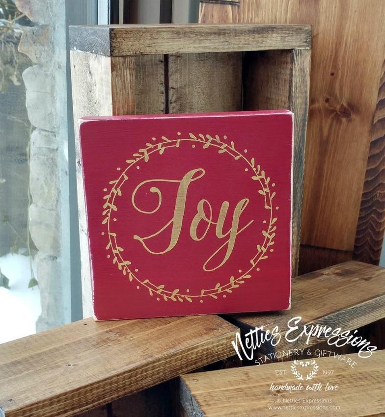 Joy - Rustic Wood Christmas Sign - Netties Expressions