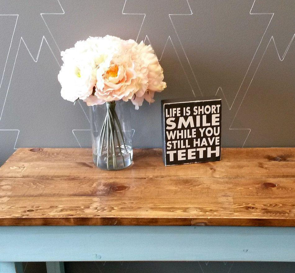 Life is short smile - Rustic Chunky Wood Sign - Netties Expressions