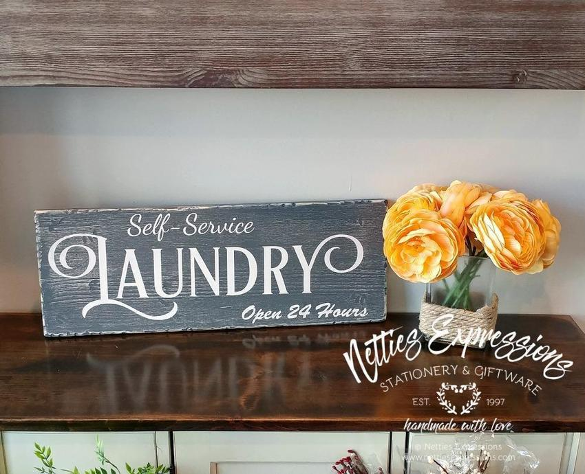 Self-Service Laundry Open 24 Hours - Rustic Wooden Sign - Netties Expressions