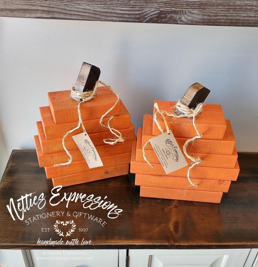 Small Stacked Rustic Wood Pumpkin - Netties Expressions