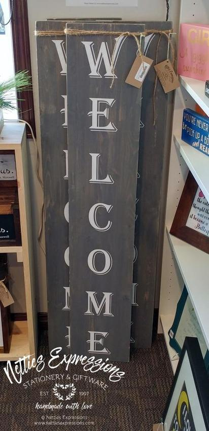 Welcome - Large Rustic Wood Sign - Netties Expressions