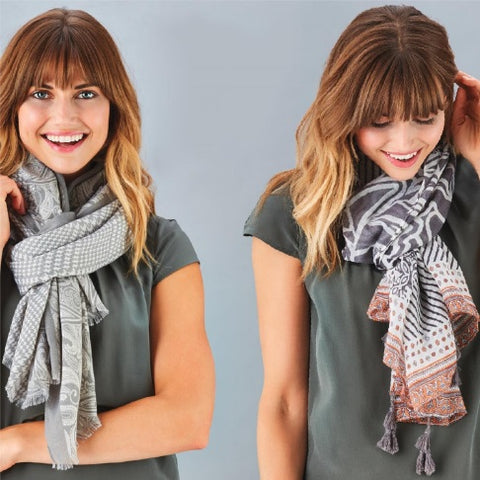 Grey Mixed-Patterned Scarf