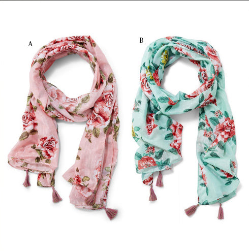 Rose Patterned Scarf