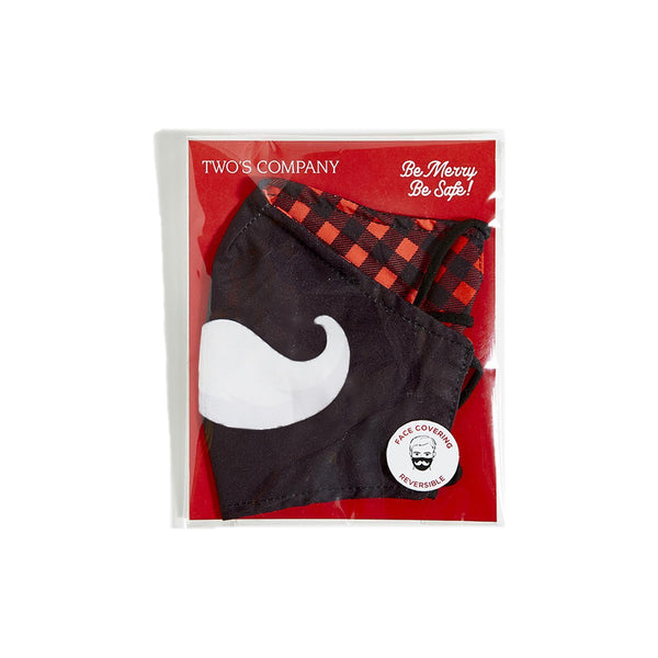 Reversible Santa Mustache Face Cover with Flexible Nose Wire and Adjustable Ear Loops on Gift Card