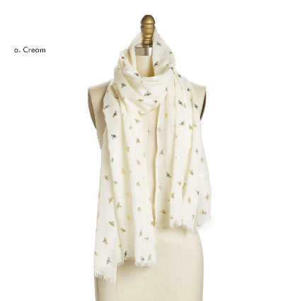 Bee-utiful Gold Bee Pattern Scarf