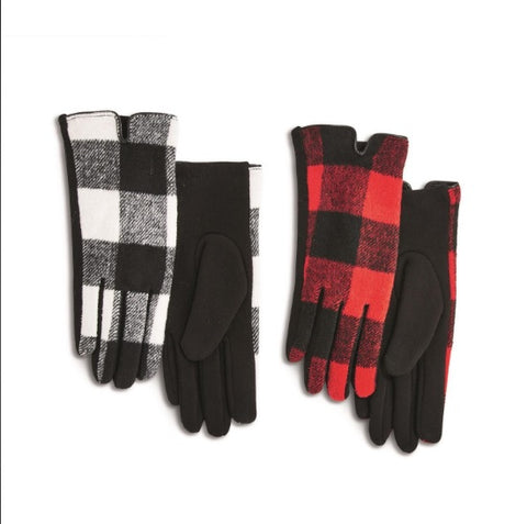 Buffalo Plaid Gloves with Touchscreen Fingertips