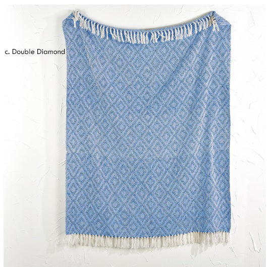 Blue and White Cotton Throw