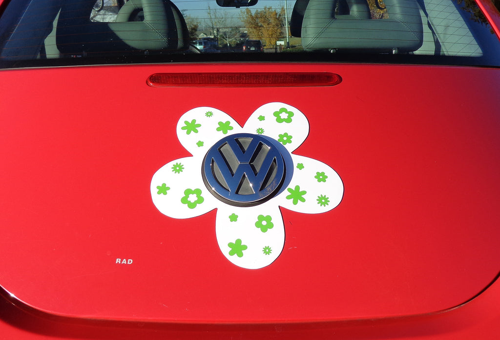 VW Beetle Flower Magnetic Decal- Green Flowers