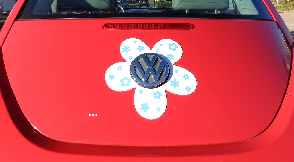 VW Beetle Flower Magnetic Decal Light Blue Flowers Bling My Bug - Magnetic car decals flowers